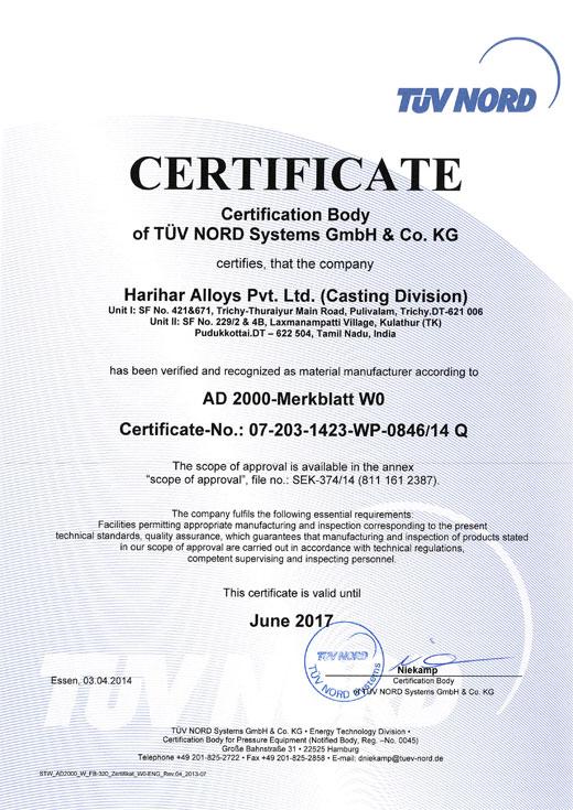Certifications Harihar Alloys